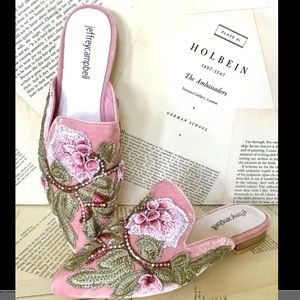 Jeffrey Campbell Embroidered Mules pink Velvet 5.5